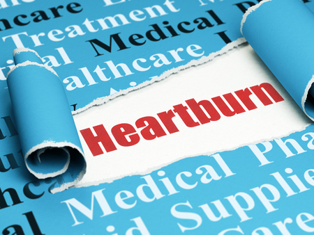 heartburn: Healthcare concept: red text Heartburn under the curled piece of Blue torn paper with  Tag Cloud, 3D rendering