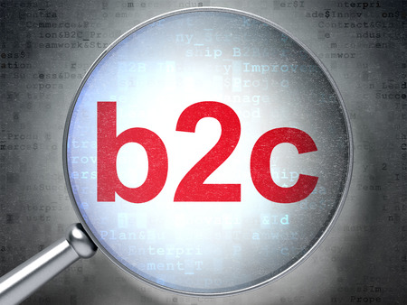 b2c: Business concept: magnifying optical glass with words B2c on digital background, 3D rendering