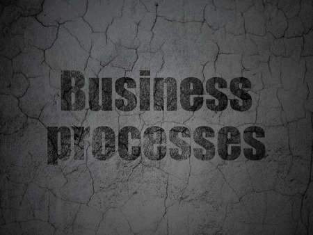 cement solution: Finance concept: Black Business Processes on grunge textured concrete wall background