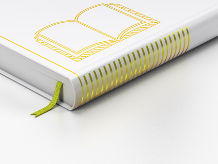 closed book: Studying concept: closed book with Gold Book icon on floor, white background, 3D rendering Stock Photo