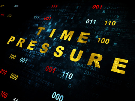 time pressure: Time concept: Pixelated yellow text Time Pressure on Digital wall background with Binary Code