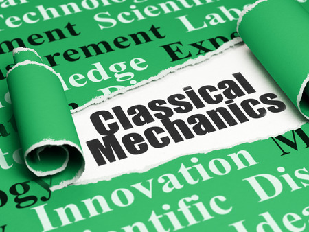 classical mechanics: Science concept: black text Classical Mechanics under the curled piece of Green torn paper with  Tag Cloud, 3D rendering Stock Photo