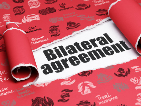 bilateral: Insurance concept: black text Bilateral Agreement under the curled piece of Red torn paper with  Hand Drawn Insurance Icons, 3D rendering
