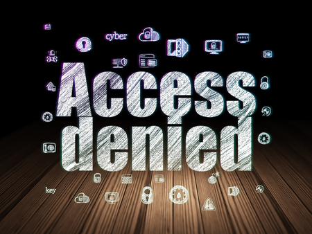 room access: Protection concept: Glowing text Access Denied,  Hand Drawn Security Icons in grunge dark room with Wooden Floor, black background Stock Photo