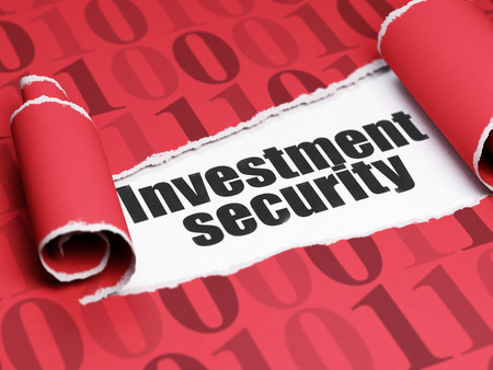 investment security: Safety concept: black text Investment Security under the curled piece of Red torn paper with  Binary Code, 3D rendering