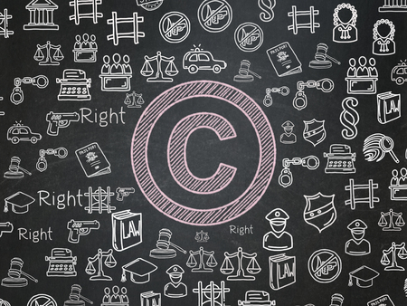 criminal act: Law concept: Chalk Pink Copyright icon on School board background with  Hand Drawn Law Icons, School Board