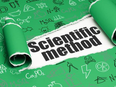metodo cientifico: Concepto de la ciencia: Método Científico texto negro debajo de la pieza de papel rasgado rizado verde con dibujado a mano iconos de la ciencia, de renderizado 3D