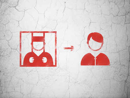 freed: Law concept: Red Criminal Freed on textured concrete wall background