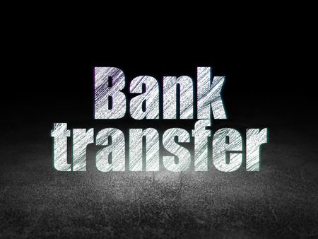 bank transfer: Currency concept: Glowing text Bank Transfer in grunge dark room with Dirty Floor, black background Stock Photo
