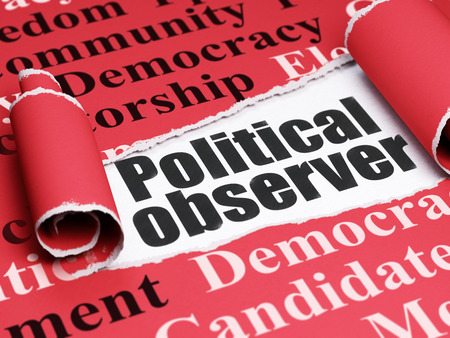 observer: Political concept: black text Political Observer under the curled piece of Red torn paper with  Tag Cloud, 3D rendering