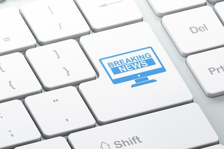 teclado de computadora: Concepto de las noticias: la tecla Enter con Noticias de �ltima hora en pantalla en el fondo del teclado del ordenador, 3D