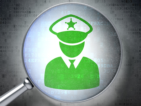 data protection act: Protection concept: magnifying optical glass with Police icon on digital background, 3D rendering