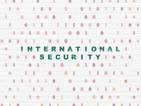international security: Safety concept: Painted green text International Security on White Brick wall background with Binary Code