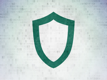 passkey: Security concept: Painted green Contoured Shield icon on Digital Paper background Stock Photo