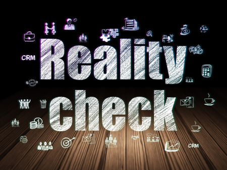 check room: Business concept: Glowing text Reality Check,  Hand Drawn Business Icons in grunge dark room with Wooden Floor, black background Stock Photo