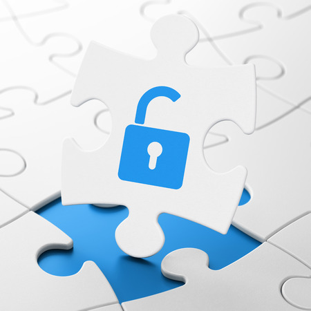 puzzle background: Data concept: Opened Padlock on White puzzle pieces background, 3D rendering