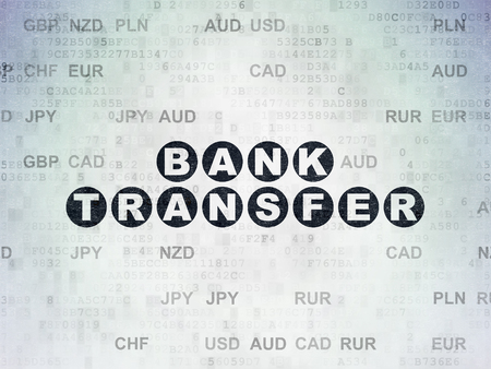 bank transfer: Banking concept: Painted black text Bank Transfer on Digital Paper background with Currency