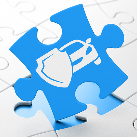 brainteaser: Insurance concept: Car And Shield on Blue puzzle pieces background, 3D rendering