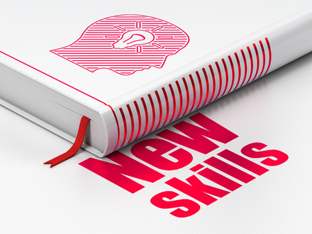 learning new skills: Learning concept: closed book with Red Head With Light Bulb icon and text New Skills on floor, white background, 3D rendering Stock Photo