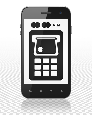display machine: Money concept: Smartphone with black ATM Machine icon on display, 3D rendering