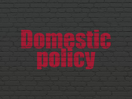 domestic policy: Political concept: Painted red text Domestic Policy on Black Brick wall background Stock Photo