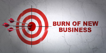 hitting a wall: Success business concept: arrows hitting the center of target, Red Burn Of new Business on wall background, 3D rendering