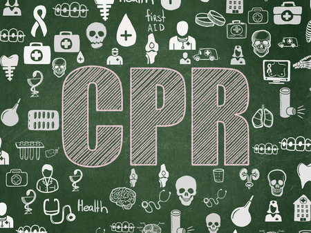 cpr: Medicine concept: Chalk Pink text CPR on School board background with  Hand Drawn Medicine Icons, School Board