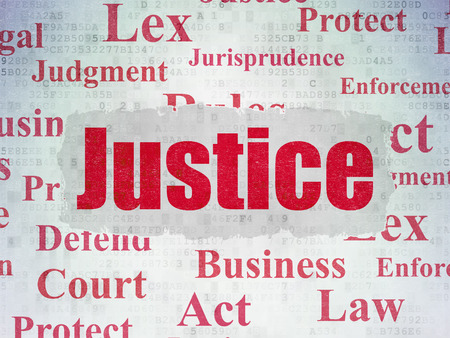 data protection act: Law concept: Painted red text Justice on Digital Paper background with   Tag Cloud Stock Photo