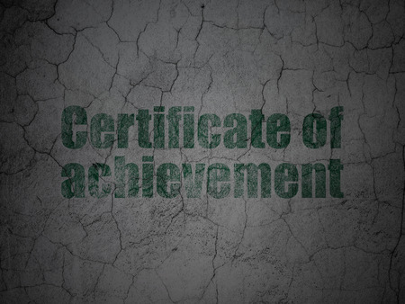 antique sleigh: Studying concept: Green Certificate of Achievement on grunge textured concrete wall background