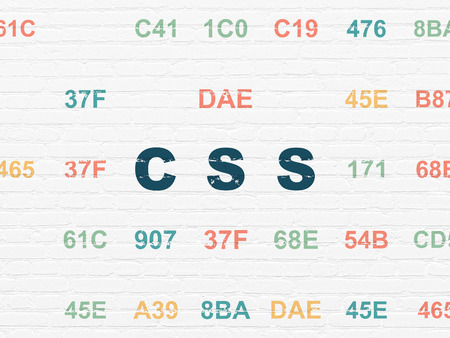 hexadecimal: Programming concept: Painted blue text Css on White Brick wall background with Hexadecimal Code