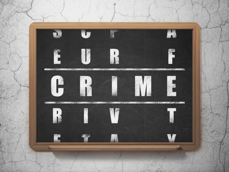crime solving: Privacy concept: Painted White word Crime in solving Crossword Puzzle on School board background, 3D Rendering Stock Photo
