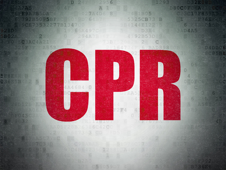 cpr: Health concept: Painted red word CPR on Digital Paper background Stock Photo
