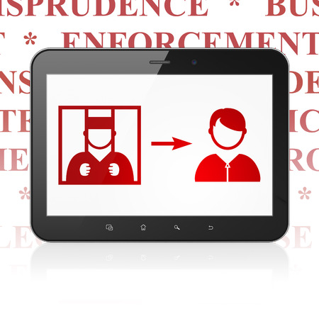 freed: Law concept: Tablet Computer with  red Criminal Freed icon on display,  Tag Cloud background, 3D rendering