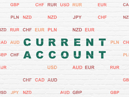 current account: Currency concept: Painted green text Current Account on White Brick wall background with Currency Stock Photo