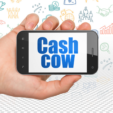 cash cow: Business concept: Hand Holding Smartphone with  blue text Cash Cow on display,  Hand Drawn Business Icons background, 3D rendering