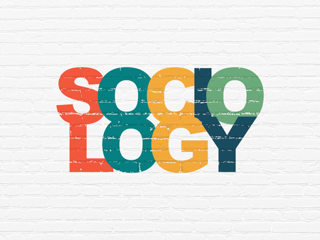 sociologia: El estudio de concepto: Pintado Sociolog�a texto multicolor en blanco del ladrillo la pared de fondo Foto de archivo