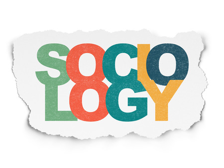 sociology: Concepto de la educación: pintada multicolor texto Sociología en fondo de papel rasgado