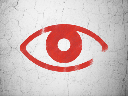 red eye: Safety concept: Red Eye on textured concrete wall background