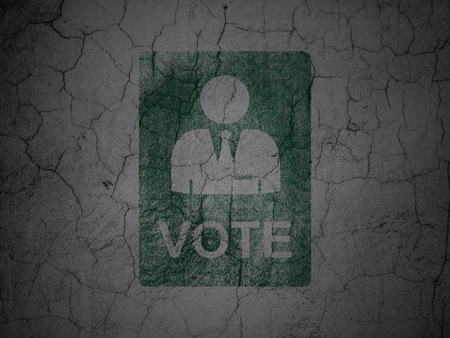 dictatorship: Political concept: Green Ballot on grunge textured concrete wall background
