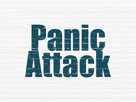 panic attack: Health concept: Painted blue text Panic Attack on White Brick wall background Stock Photo