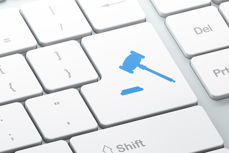 Law concept: Enter button with Gavel on computer keyboard background, 3D rendering