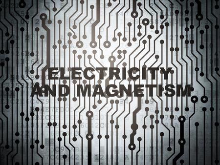 magnetismo: concetto di scienza: Circuito con la parola elettricità e magnetismo, il rendering 3D