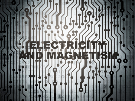 magnetism: Science concept: circuit board with  word Electricity And Magnetism, 3D rendering