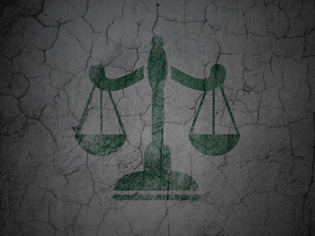 concrete court: Law concept: Green Scales on grunge textured concrete wall background Stock Photo