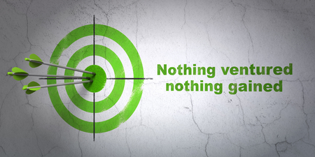 gained: Success finance concept: arrows hitting the center of target, Green Nothing ventured Nothing gained on wall background, 3D rendering Stock Photo