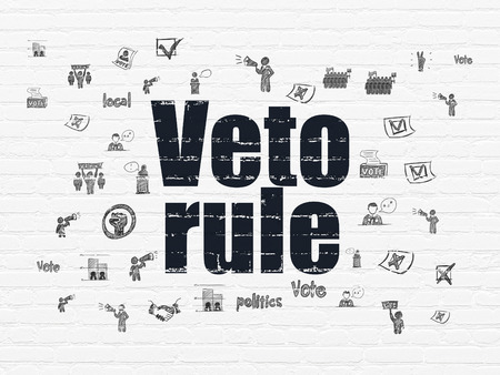 veto: Politics concept: Painted black text Veto Rule on White Brick wall background with  Hand Drawn Politics Icons