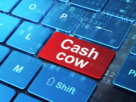 cash cow: Business concept: computer keyboard with word Cash Cow on enter button background, 3D rendering