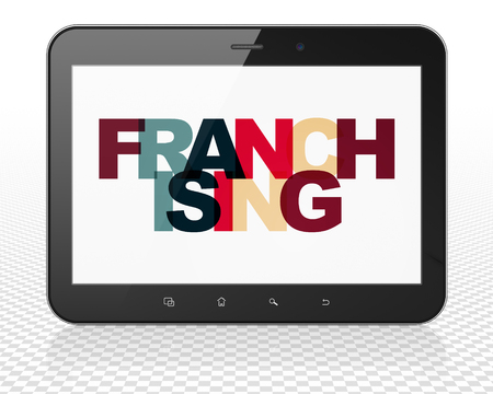 franchising: Business concept: Tablet Pc Computer with Painted multicolor text Franchising on display, 3D rendering Stock Photo