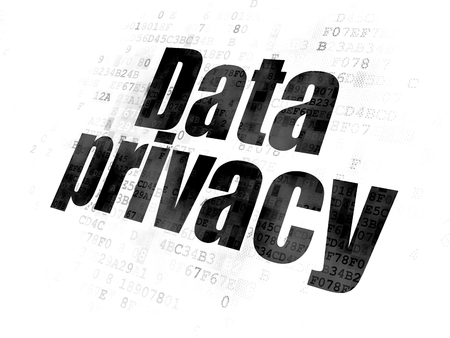 privacidad: Privacy concept: Pixelated black text Data Privacy on Digital background