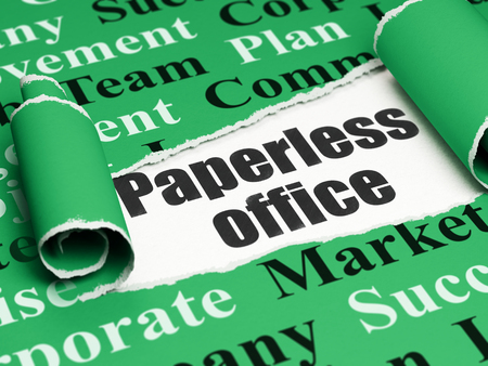 paperless: Finance concept: black text Paperless Office under the curled piece of Green torn paper with  Tag Cloud, 3D rendering